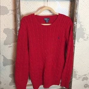 Polo Ralph Lauren boys red cable knit sweater XL